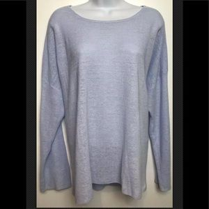 EILEEN FISHER Sweater Blue Organic Linen Boxy